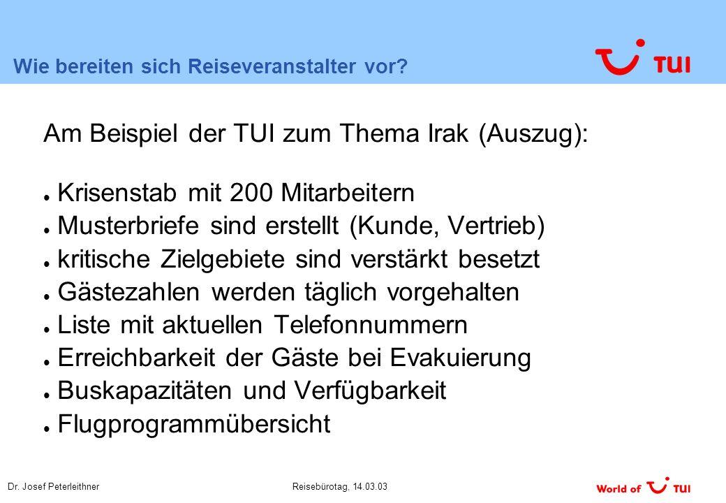 Dr. Josef PeterleithnerReisebürotag, 14.03.03 Wie bereiten sich Reiseveranstalter vor.