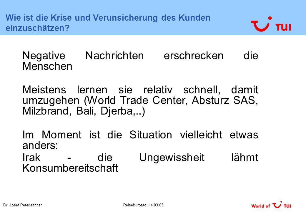 Dr. Josef PeterleithnerReisebürotag, 14.03.03 Wie ist die Krise und Verunsicherung des Kunden einzuschätzen? Negative Nachrichten erschrecken die Mens