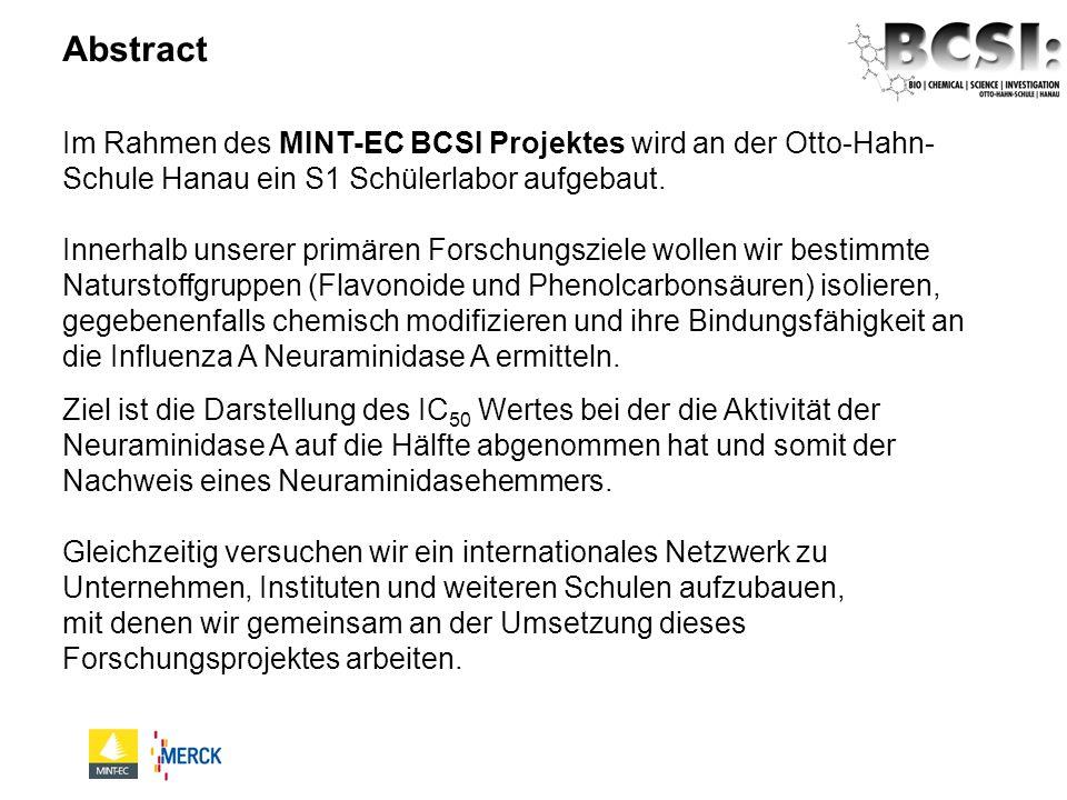 Im Rahmen des MINT-EC BCSI Projektes wird an der Otto-Hahn- Schule Hanau ein S1 Schülerlabor aufgebaut. Innerhalb unserer primären Forschungsziele wol