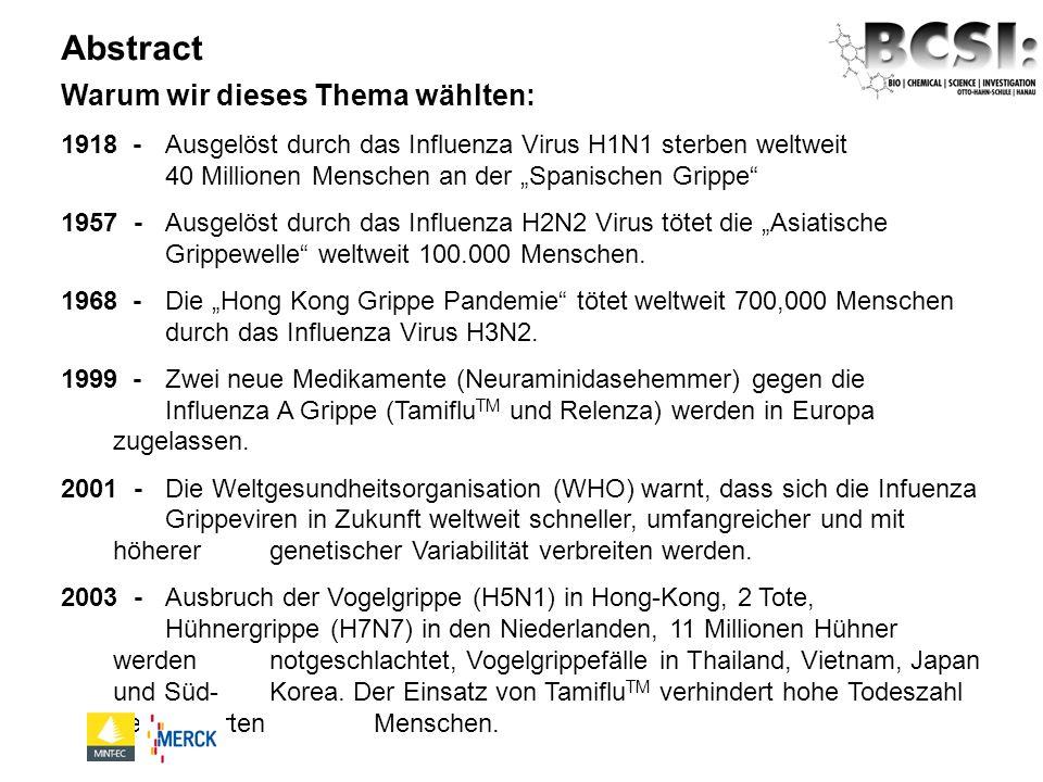 Warum wir dieses Thema wählten: 1918 - Ausgelöst durch das Influenza Virus H1N1 sterben weltweit 40 Millionen Menschen an der Spanischen Grippe 1957 -