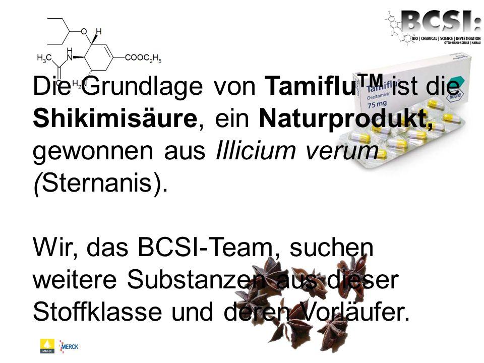 Die Grundlage von Tamiflu TM ist die Shikimisäure, ein Naturprodukt, gewonnen aus Illicium verum (Sternanis). Wir, das BCSI-Team, suchen weitere Subst