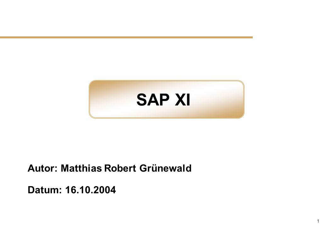 22 SAP XI - Integration Repository n Bieten eine Übersicht über das Integrations-Szenario n Zeigen die involvierten Business-Partner n Bieten einen direkten Zugriff auf die Interfaces, Mappings und Datentypen n Bieten versch.