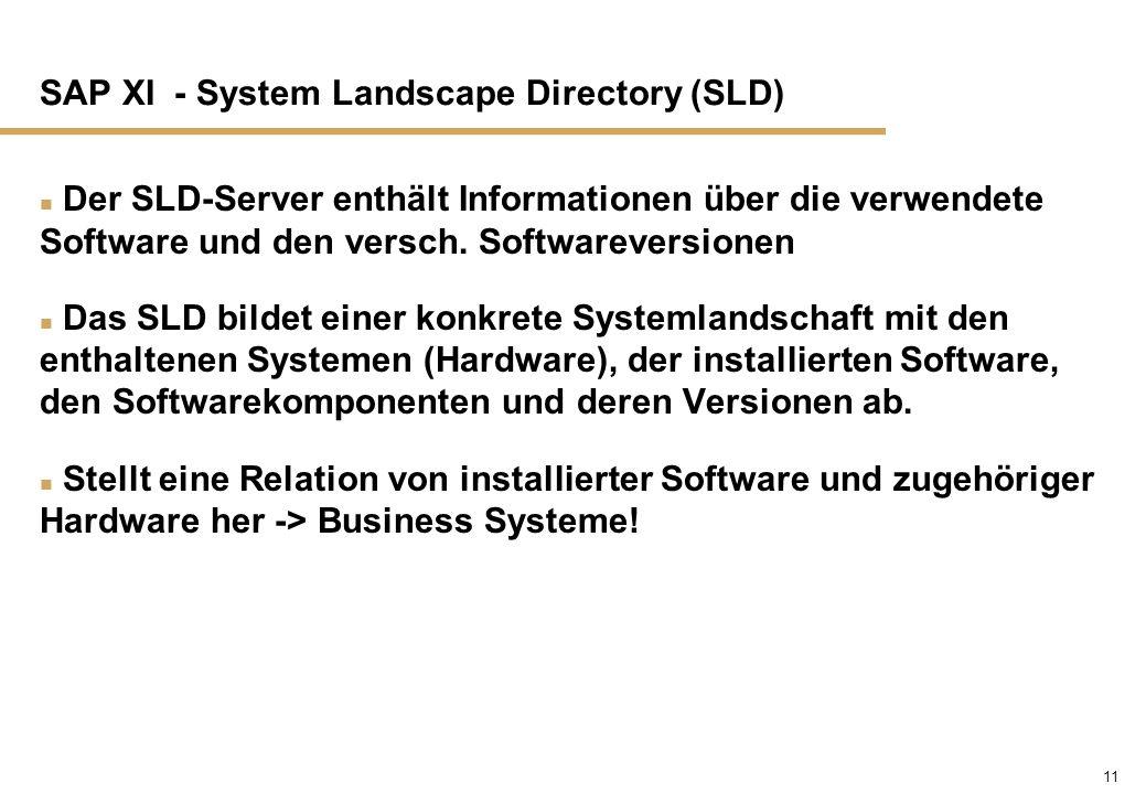 11 SAP XI - System Landscape Directory (SLD) n Der SLD-Server enthält Informationen über die verwendete Software und den versch. Softwareversionen n D