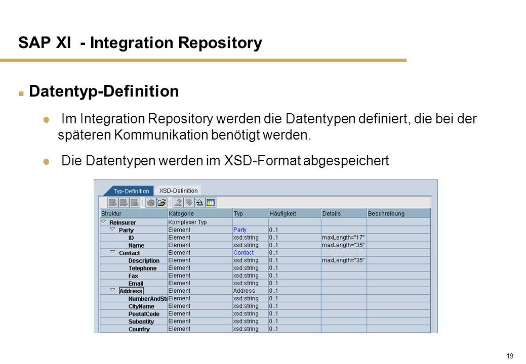 19 SAP XI - Integration Repository n Datentyp-Definition Im Integration Repository werden die Datentypen definiert, die bei der späteren Kommunikation