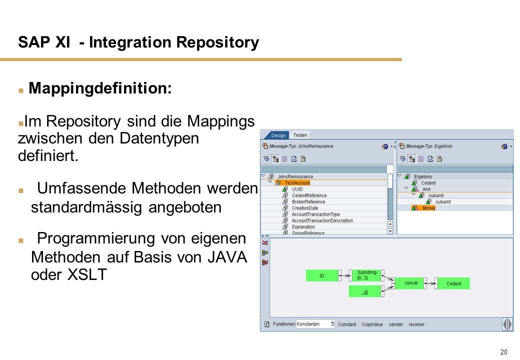 20 SAP XI - Integration Repository n Mappingdefinition: n Im Repository sind die Mappings zwischen den Datentypen definiert. n Umfassende Methoden wer