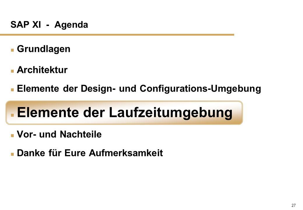 27 SAP XI - Agenda n Grundlagen n Architektur n Elemente der Design- und Configurations-Umgebung n Elemente der Laufzeitumgebung n Vor- und Nachteile