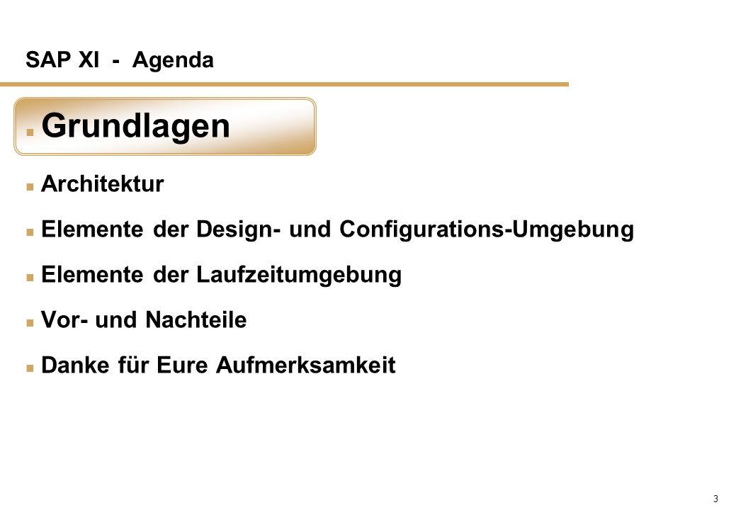 3 SAP XI - Agenda n Grundlagen n Architektur n Elemente der Design- und Configurations-Umgebung n Elemente der Laufzeitumgebung n Vor- und Nachteile n