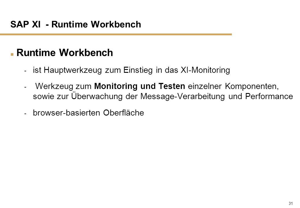 31 SAP XI - Runtime Workbench n Runtime Workbench - ist Hauptwerkzeug zum Einstieg in das XI-Monitoring - Werkzeug zum Monitoring und Testen einzelner