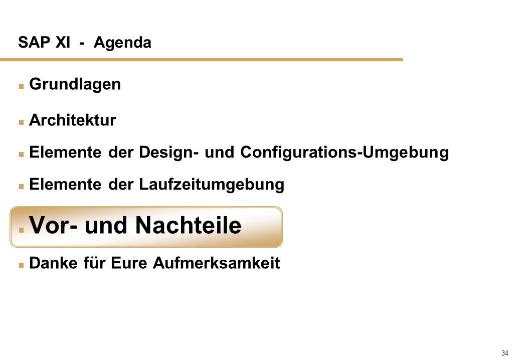 34 SAP XI - Agenda n Grundlagen n Architektur n Elemente der Design- und Configurations-Umgebung n Elemente der Laufzeitumgebung n Vor- und Nachteile