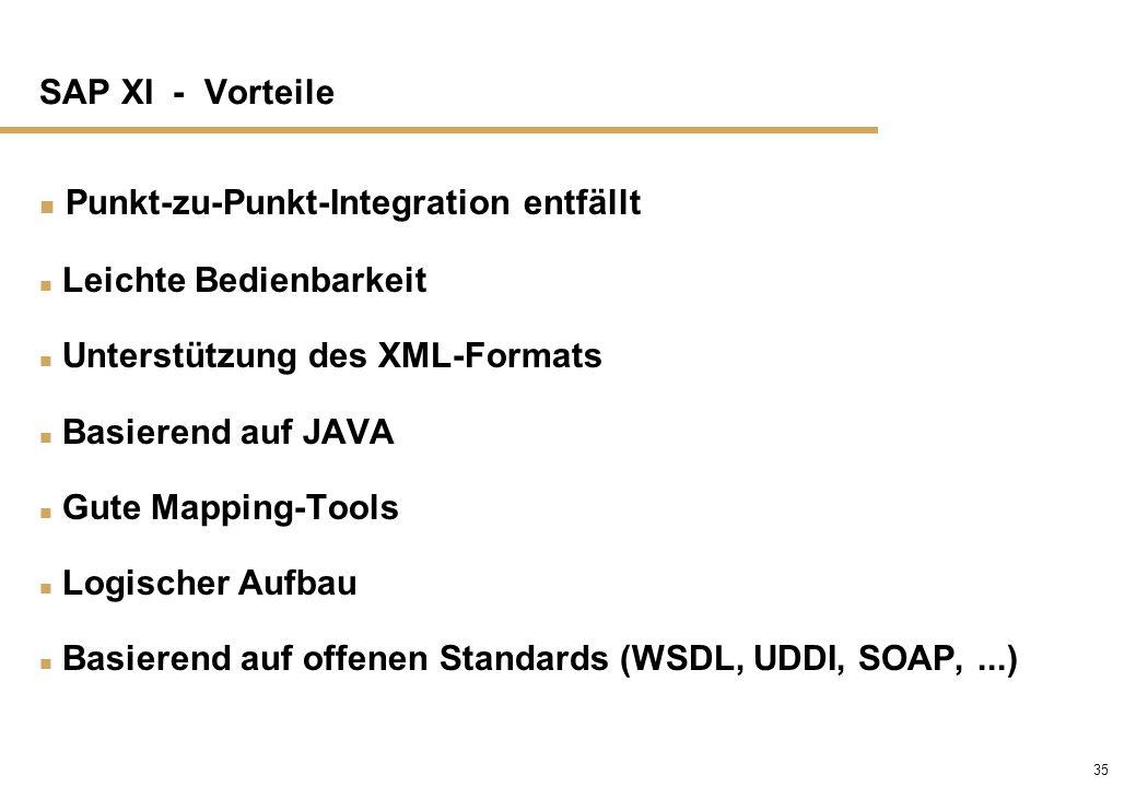 35 SAP XI - Vorteile n Punkt-zu-Punkt-Integration entfällt n Leichte Bedienbarkeit n Unterstützung des XML-Formats n Basierend auf JAVA n Gute Mapping
