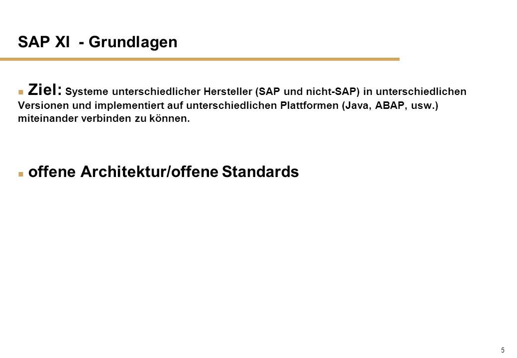 5 SAP XI - Grundlagen n Ziel: Systeme unterschiedlicher Hersteller (SAP und nicht-SAP) in unterschiedlichen Versionen und implementiert auf unterschie