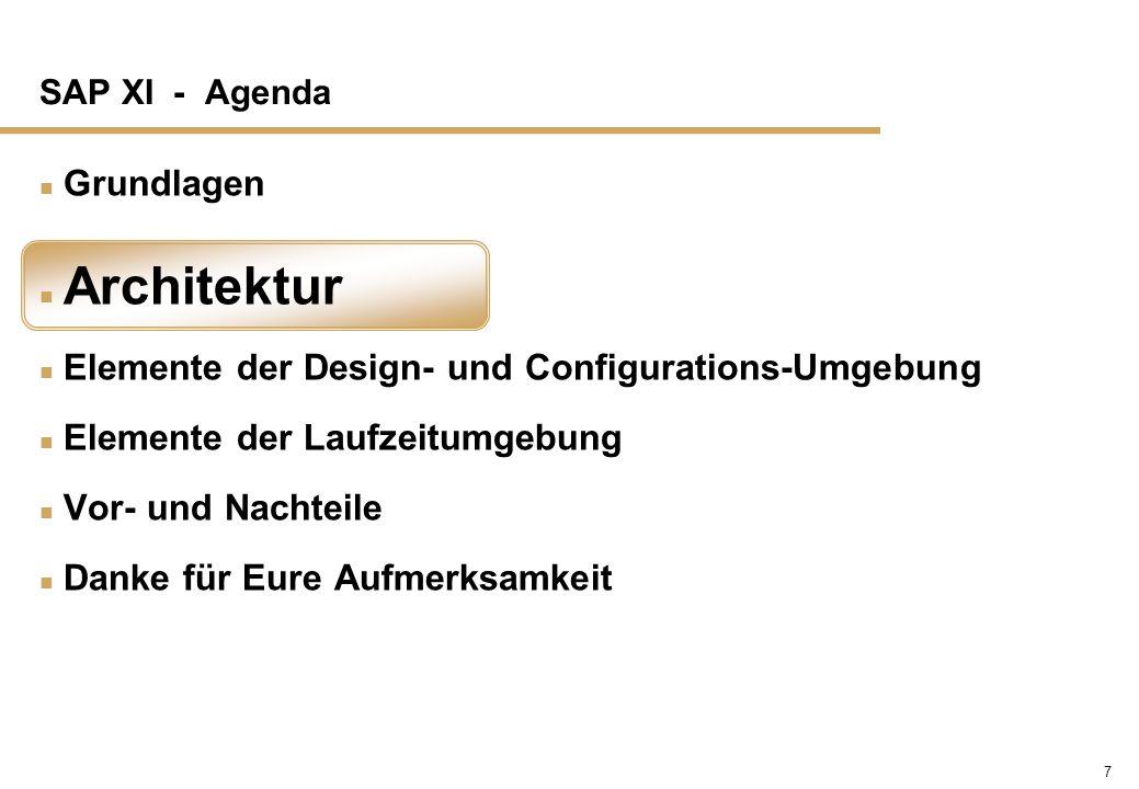 7 SAP XI - Agenda n Grundlagen n Architektur n Elemente der Design- und Configurations-Umgebung n Elemente der Laufzeitumgebung n Vor- und Nachteile n