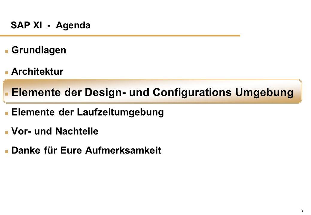 9 SAP XI - Agenda n Grundlagen n Architektur n Elemente der Design- und Configurations Umgebung n Elemente der Laufzeitumgebung n Vor- und Nachteile n