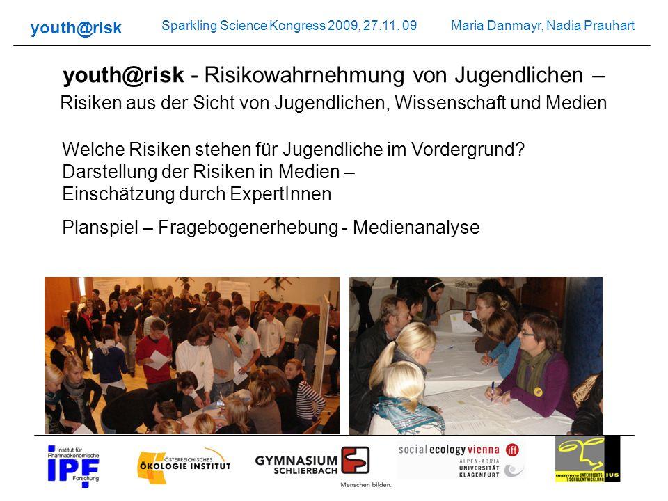 Maria Danmayr, Nadia Prauhart youth@risk Sparkling Science Kongress 2009, 27.11. 09 youth@risk - Risikowahrnehmung von Jugendlichen – Risiken aus der