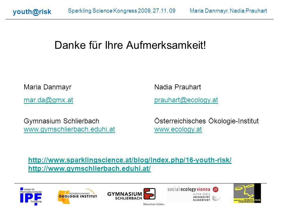 Maria Danmayr, Nadia Prauhart youth@risk Sparkling Science Kongress 2009, 27.11. 09 Danke für Ihre Aufmerksamkeit! Maria Danmayr mar.da@gmx.at Gymnasi