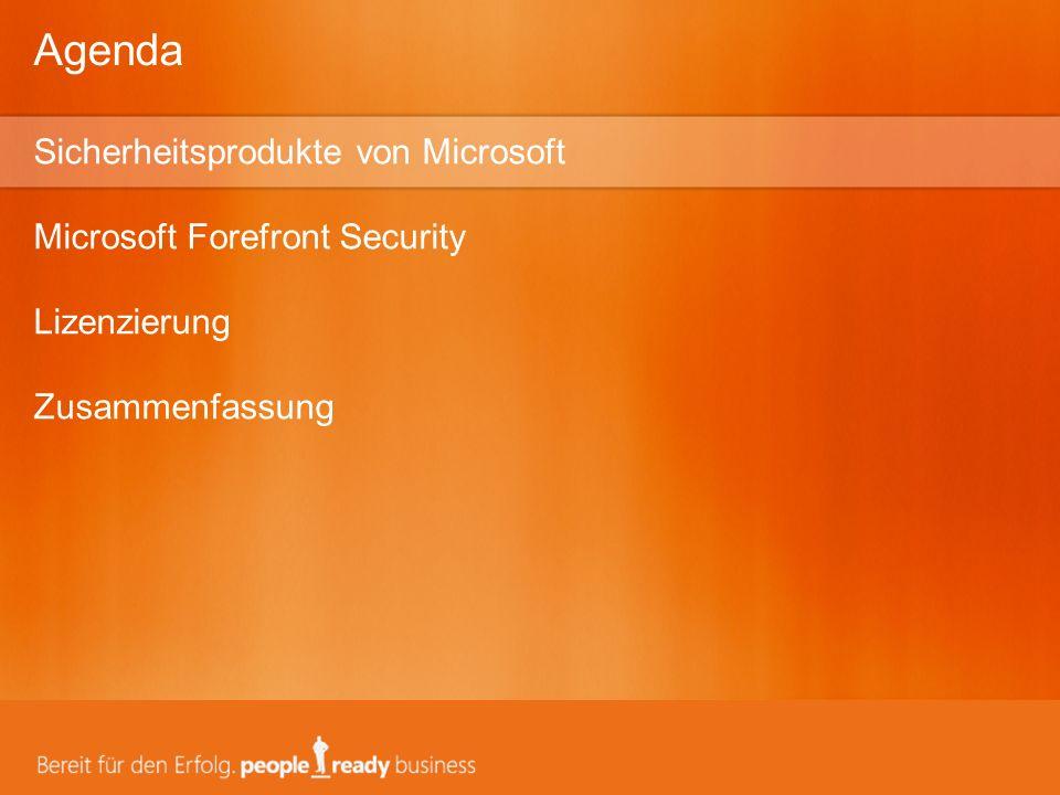 Guidance Developer Tools Systems Management Identity Management Information Protection Services Server Applications Client and Server OS Edge Microsoft vereint branchenführende, durchgängige und kostengünstige Sicherheitstechnologien auf Basis von Windows Server System