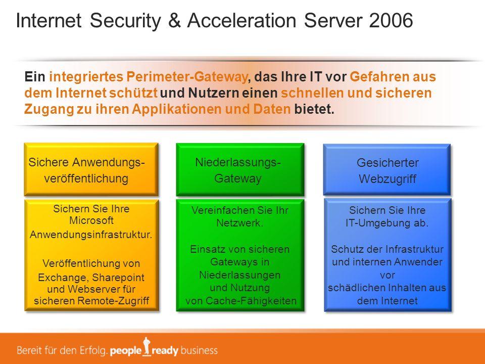 Internet Security & Acceleration Server 2006 Ein integriertes Perimeter-Gateway, das Ihre IT vor Gefahren aus dem Internet schützt und Nutzern einen s