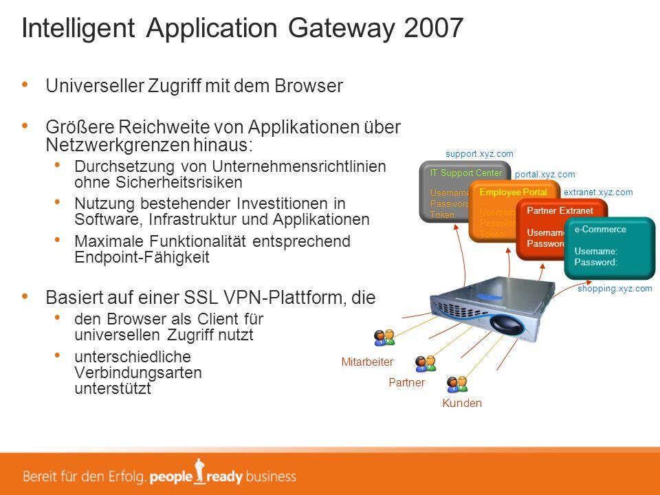Intelligent Application Gateway 2007 Universeller Zugriff mit dem Browser Größere Reichweite von Applikationen über Netzwerkgrenzen hinaus: Durchsetzu