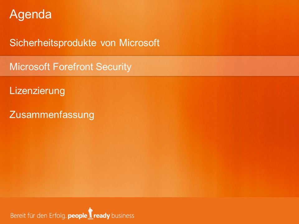 Sicherheitsprodukte von Microsoft Microsoft Forefront Security Lizenzierung Zusammenfassung Agenda