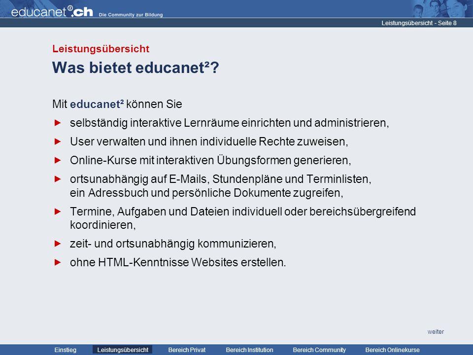 - Seite 29 Leistungsübersicht Bereich PrivatBereich Institution Bereich CommunityEinstiegBereich Onlinekurse weiter Beispiel Klassen bzw.