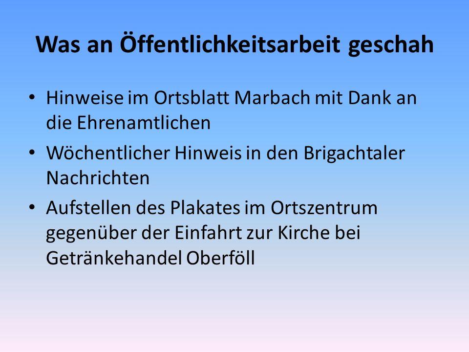 Was an Öffentlichkeitsarbeit geschah Hinweise im Ortsblatt Marbach mit Dank an die Ehrenamtlichen Wöchentlicher Hinweis in den Brigachtaler Nachrichten Aufstellen des Plakates im Ortszentrum gegenüber der Einfahrt zur Kirche bei Getränkehandel Oberföll