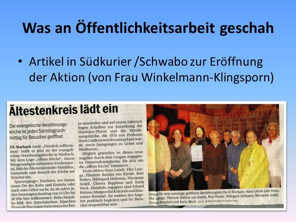 Was an Öffentlichkeitsarbeit geschah Artikel in Südkurier /Schwabo zur Eröffnung der Aktion (von Frau Winkelmann-Klingsporn)
