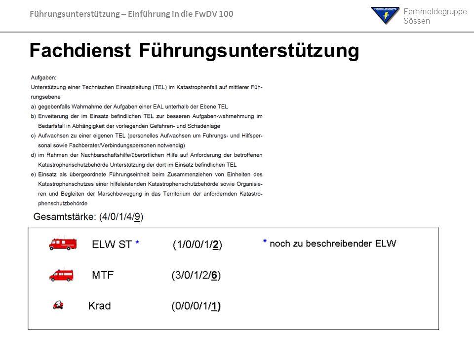 Fernmeldegruppe Sössen Führungsunterstützung – Einführung in die FwDV 100 Fachdienst Führungsunterstützung