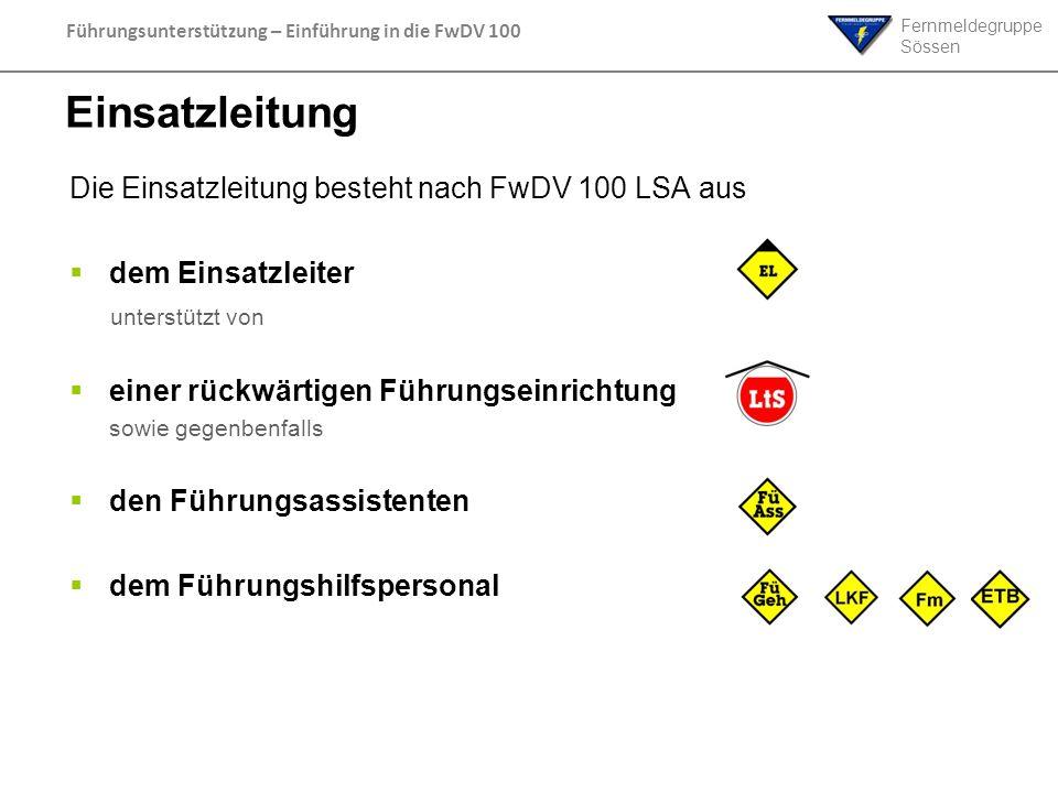 Fernmeldegruppe Sössen Führungsunterstützung – Einführung in die FwDV 100 Einsatzleitung Die Einsatzleitung besteht nach FwDV 100 LSA aus dem Einsatzl
