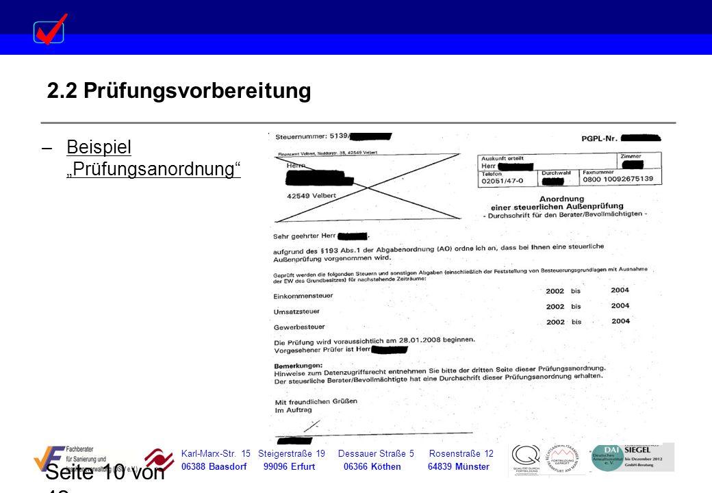 Karl-Marx-Str. 15 Steigerstraße 19 Dessauer Straße 5 Rosenstraße 12 06388 Baasdorf 99096 Erfurt 06366 Köthen 64839 Münster Seite 10 von 42 2.2 Prüfung