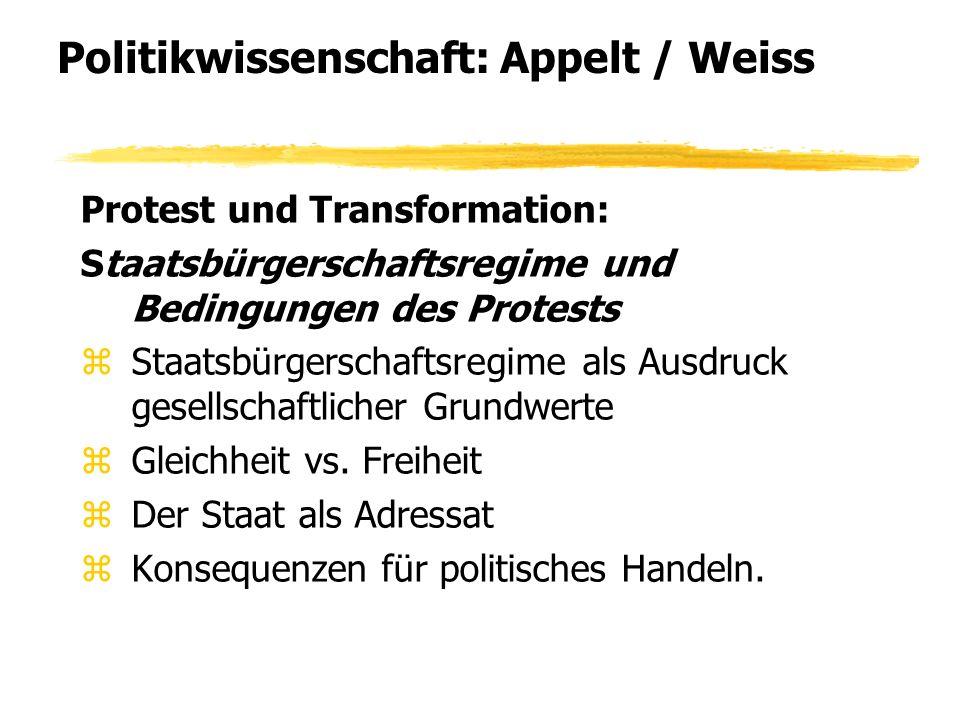 Politikwissenschaft: Appelt / Weiss Protest und Transformation: Staatsbürgerschaftsregime und Bedingungen des Protests zStaatsbürgerschaftsregime als Ausdruck gesellschaftlicher Grundwerte zGleichheit vs.
