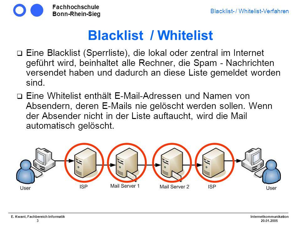 Fachhochschule Bonn-Rhein-Sieg Blacklist- / Whitelist-Verfahren Internetkommunikation 20.01.2005 E. Kwant, Fachbereich Informatik 3 Blacklist / Whitel