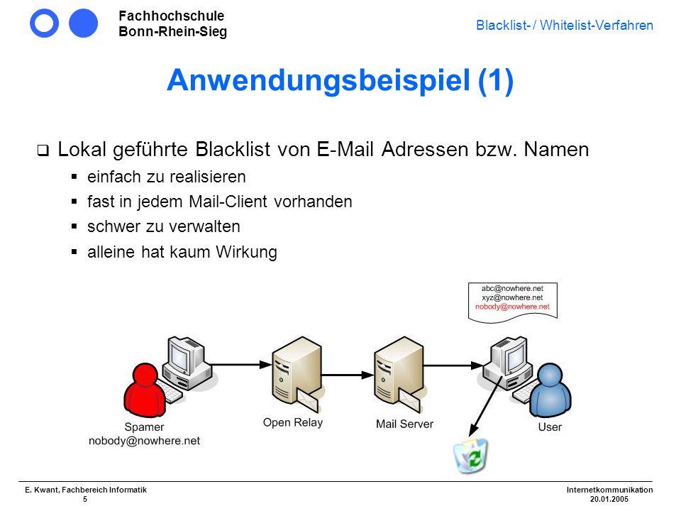 Fachhochschule Bonn-Rhein-Sieg Blacklist- / Whitelist-Verfahren Internetkommunikation 20.01.2005 E. Kwant, Fachbereich Informatik 5 Anwendungsbeispiel