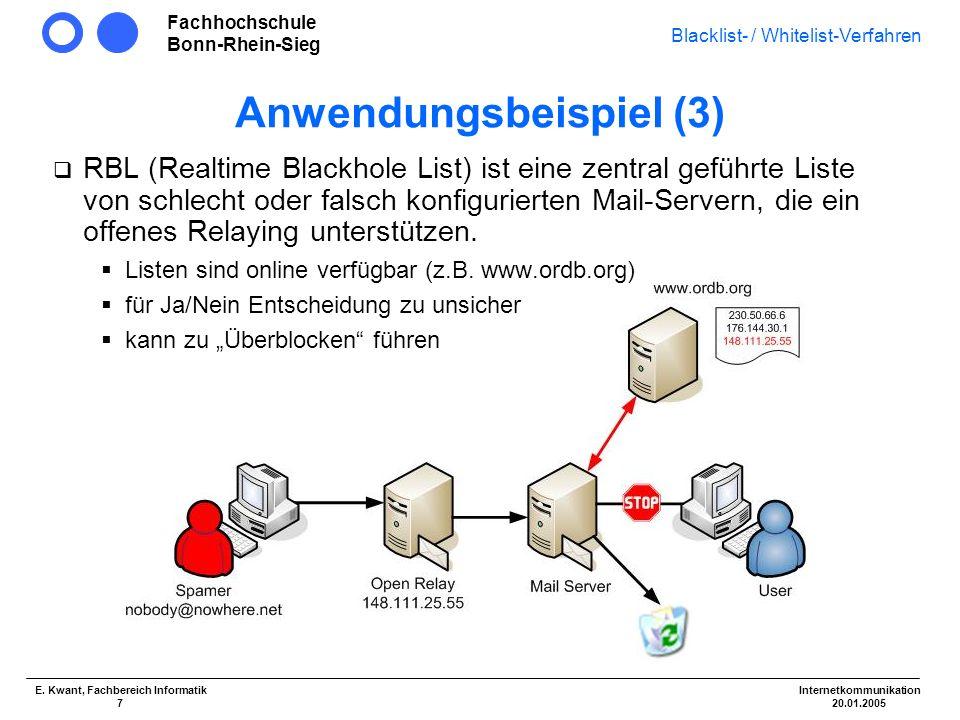 Fachhochschule Bonn-Rhein-Sieg Blacklist- / Whitelist-Verfahren Internetkommunikation 20.01.2005 E. Kwant, Fachbereich Informatik 7 Anwendungsbeispiel