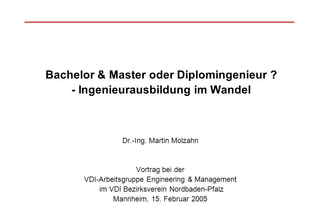 Bachelor & Master oder Diplomingenieur ? - Ingenieurausbildung im Wandel Dr.-Ing. Martin Molzahn Vortrag bei der VDI-Arbeitsgruppe Engineering & Manag