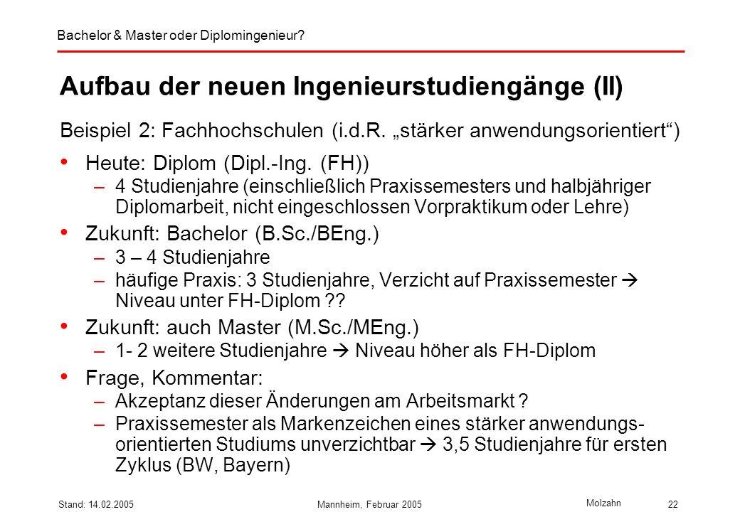 Bachelor & Master oder Diplomingenieur? Molzahn Stand: 14.02.2005Mannheim, Februar 200522 Aufbau der neuen Ingenieurstudiengänge (II) Beispiel 2: Fach