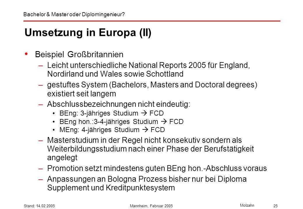 Bachelor & Master oder Diplomingenieur? Molzahn Stand: 14.02.2005Mannheim, Februar 200525 Umsetzung in Europa (II) Beispiel Großbritannien –Leicht unt