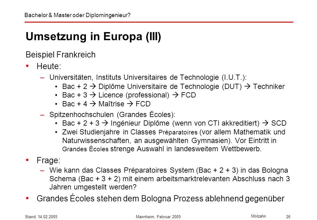 Bachelor & Master oder Diplomingenieur? Molzahn Stand: 14.02.2005Mannheim, Februar 200526 Umsetzung in Europa (III) Beispiel Frankreich Heute: –Univer