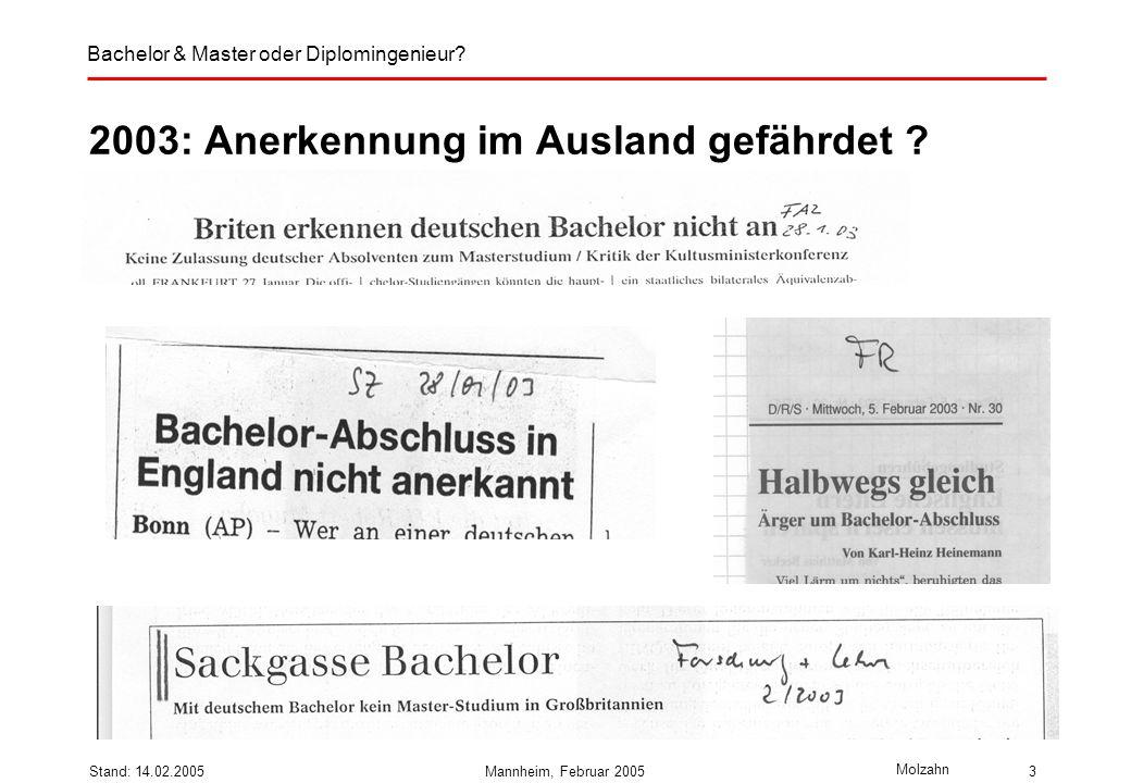 Bachelor & Master oder Diplomingenieur? Molzahn Stand: 14.02.2005Mannheim, Februar 20053 2003: Anerkennung im Ausland gefährdet ?