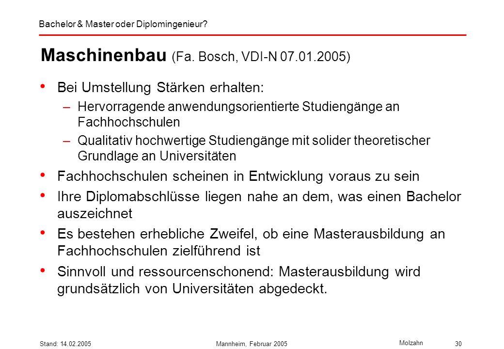 Bachelor & Master oder Diplomingenieur? Molzahn Stand: 14.02.2005Mannheim, Februar 200530 Maschinenbau (Fa. Bosch, VDI-N 07.01.2005) Bei Umstellung St