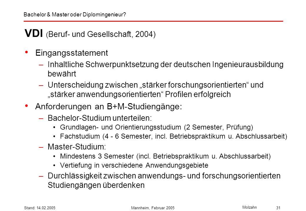 Bachelor & Master oder Diplomingenieur? Molzahn Stand: 14.02.2005Mannheim, Februar 200531 VDI ( Beruf- und Gesellschaft, 2004) Eingangsstatement –Inha
