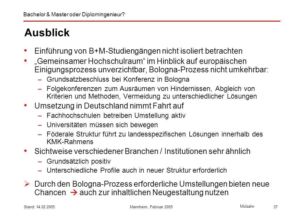 Bachelor & Master oder Diplomingenieur? Molzahn Stand: 14.02.2005Mannheim, Februar 200537 Ausblick Einführung von B+M-Studiengängen nicht isoliert bet