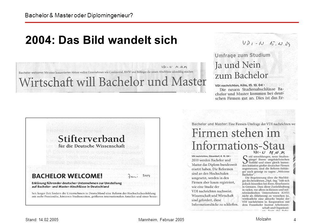 Bachelor & Master oder Diplomingenieur? Molzahn Stand: 14.02.2005Mannheim, Februar 20054 2004: Das Bild wandelt sich