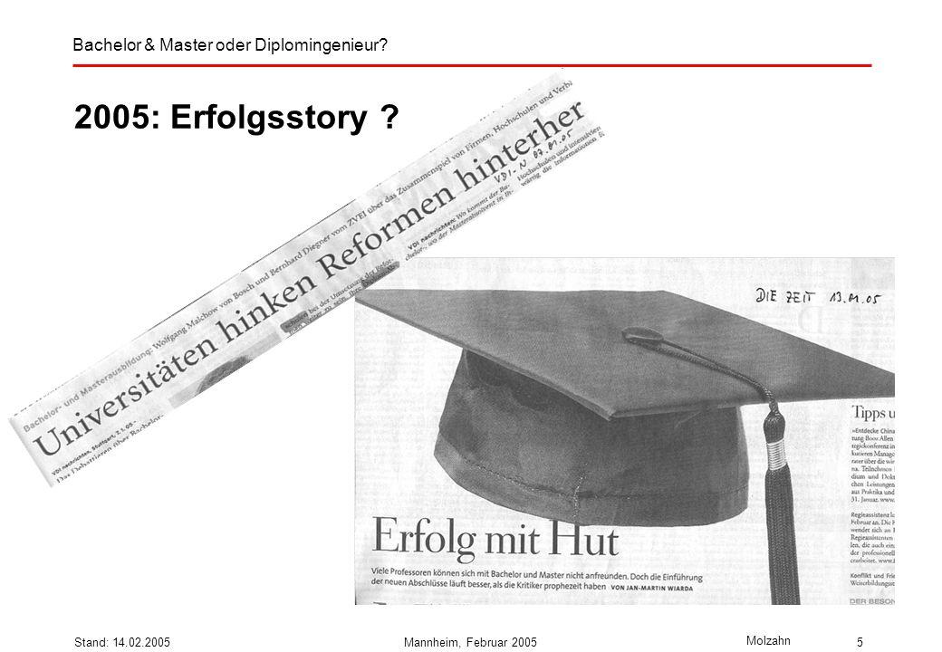 Bachelor & Master oder Diplomingenieur? Molzahn Stand: 14.02.2005Mannheim, Februar 20055 2005: Erfolgsstory ?