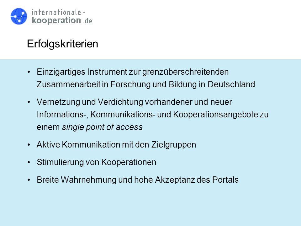 Erfolgskriterien Einzigartiges Instrument zur grenzüberschreitenden Zusammenarbeit in Forschung und Bildung in Deutschland Vernetzung und Verdichtung