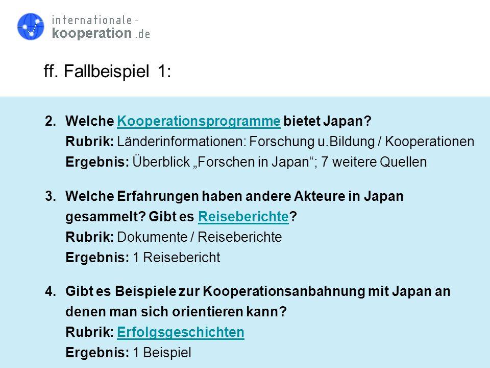 ff. Fallbeispiel 1: 2.Welche Kooperationsprogramme bietet Japan?Kooperationsprogramme Rubrik: Länderinformationen: Forschung u.Bildung / Kooperationen