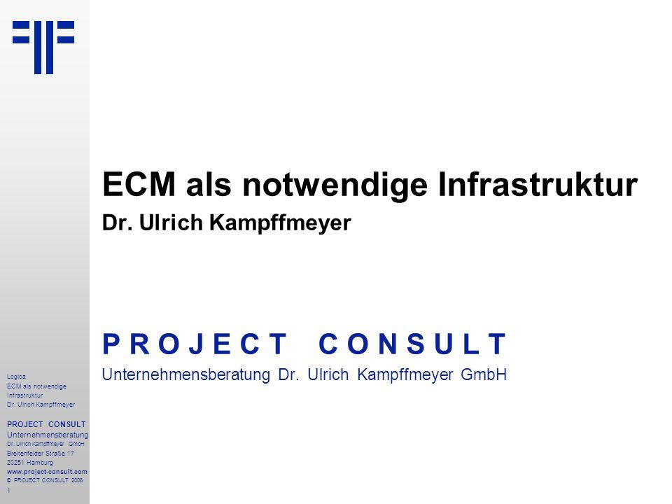 1 Logica ECM als notwendige Infrastruktur Dr. Ulrich Kampffmeyer PROJECT CONSULT Unternehmensberatung Dr. Ulrich Kampffmeyer GmbH Breitenfelder Straße