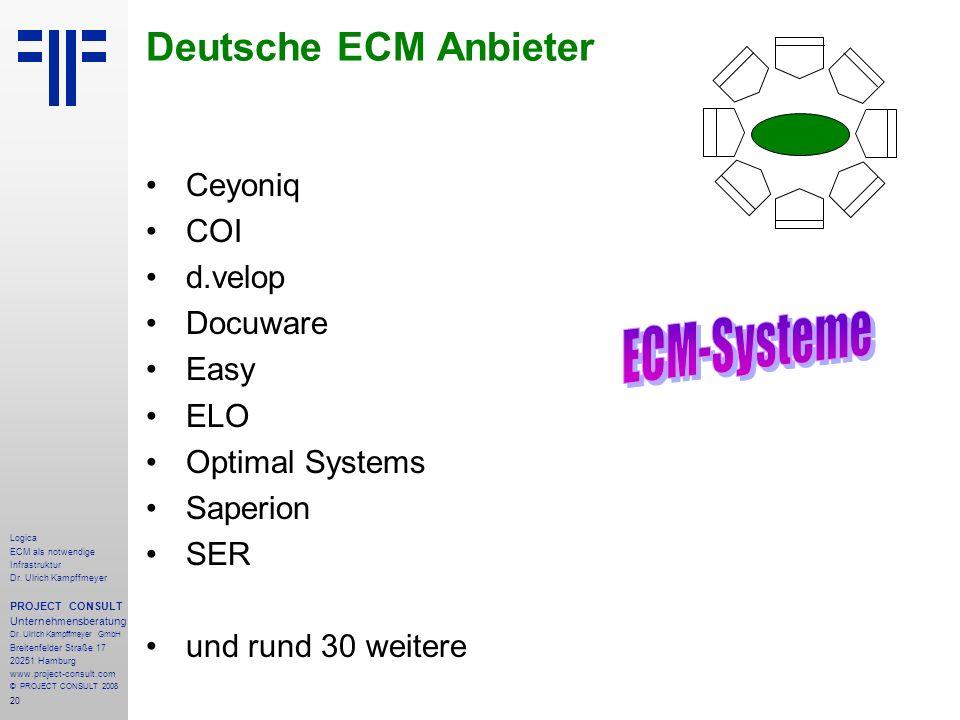 20 Logica ECM als notwendige Infrastruktur Dr. Ulrich Kampffmeyer PROJECT CONSULT Unternehmensberatung Dr. Ulrich Kampffmeyer GmbH Breitenfelder Straß