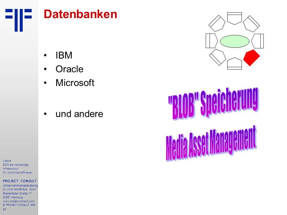 24 Logica ECM als notwendige Infrastruktur Dr. Ulrich Kampffmeyer PROJECT CONSULT Unternehmensberatung Dr. Ulrich Kampffmeyer GmbH Breitenfelder Straß