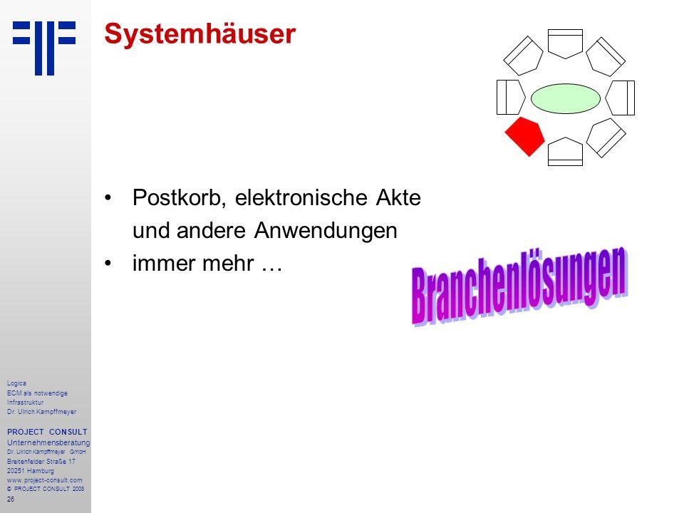 26 Logica ECM als notwendige Infrastruktur Dr. Ulrich Kampffmeyer PROJECT CONSULT Unternehmensberatung Dr. Ulrich Kampffmeyer GmbH Breitenfelder Straß