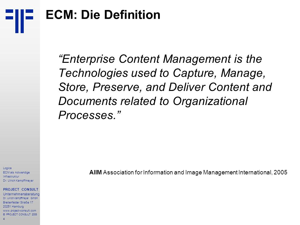 85 Logica ECM als notwendige Infrastruktur Dr.